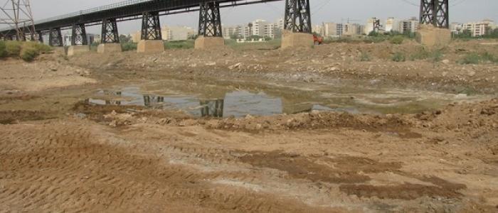 نابودی آثار باقی مانده از پل ساسانی در رودخانه اهواز